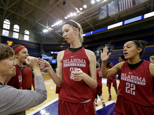 Oklahoma's Shayla Kellogg (22) and Nancy Mulkey high-five a coach at a practice a day before the team's first round NCAA tournament college basketball game Friday, March 17, 2017, in Seattle. Oklahoma plays Gonzaga Saturday. (AP Photo/Elaine Thompson)