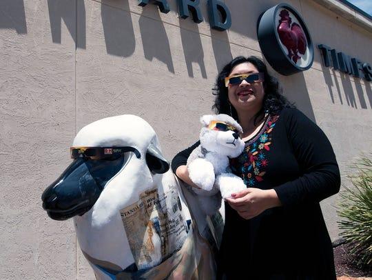Reporter Rashda Khan, Bucky the Doggo and the Standard-Times