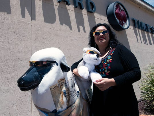 Reporter Rashda Khan, Bucky the Doggo and the Standard-Times