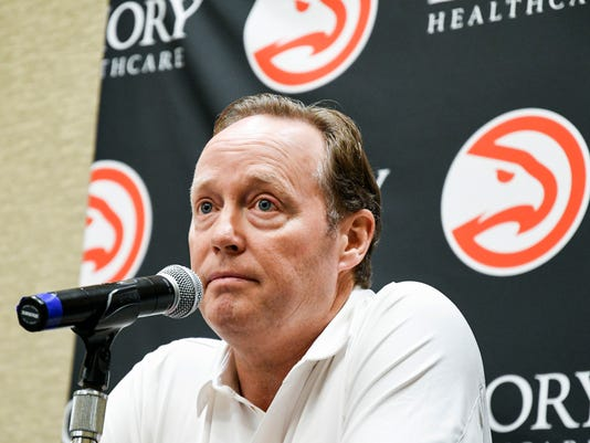 Head coach Mike Budenholzer takes questions during the Atlanta Hawks basketball media day, Monday, Sept. 25, 2017, in Atlanta. (AP Photo/John Amis)