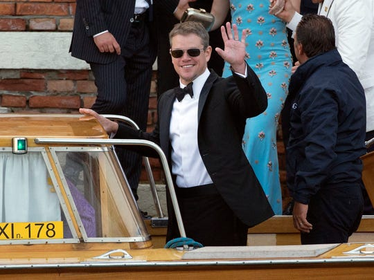 Actor Matt Damon leaves the Cipriani hotel to go to the George Clooney wedding with Amal Alamuddin, in Venice, Italy, Saturday, Sept. 27, 2014.