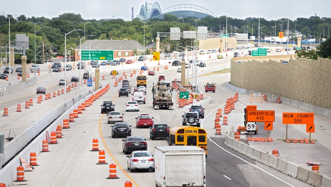 Eastbound traffic backs up on I-94 near State Fair Park in July. Gov. Scott Walker wants to initiate work on the portion of I-94 west of downtown Milwaukee over the next two years, even as he slows work on the section of I-94 south of Milwaukee and the north leg of the Zoo Interchange.