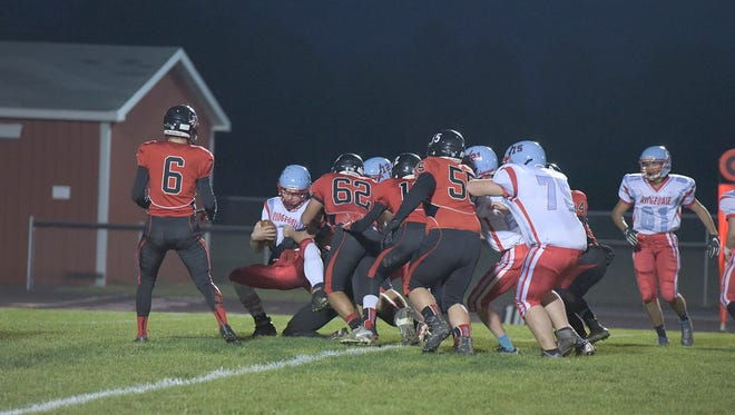 Bucyrus' Zack Patterson (#62) wraps up an opponent and he'll look to do the same this weekend at the NCOFCA All-Star Classic.