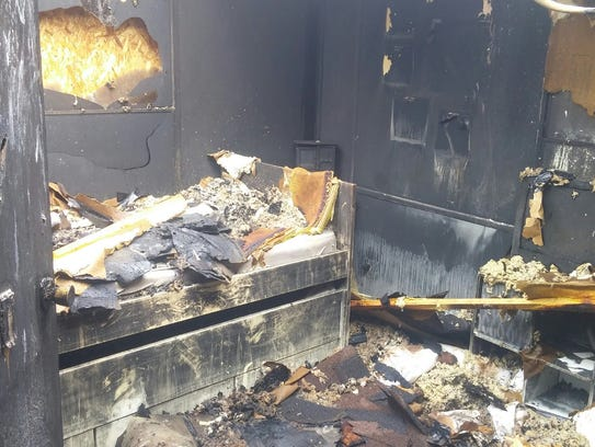 The Houghton family's trailer home is a total loss.