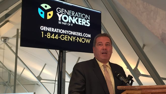 Yonkers Mayor Mike Spano in 2015 discussing the second phase of Generation Yonkers, a marketing campaign promoting the city as the next great urban frontier to live, work and play.
