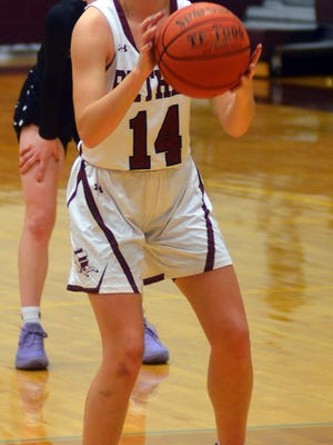 Bethel junior Kendall Michalski takes a free throw during play Tuesday against Southwestern. Michalski scored 23 points in the Bethel win.