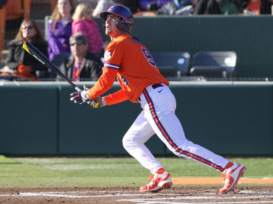 Clemson's Steven Duggar will take his next swings at Lake Olmstead Stadium in Augusta, Georgia.