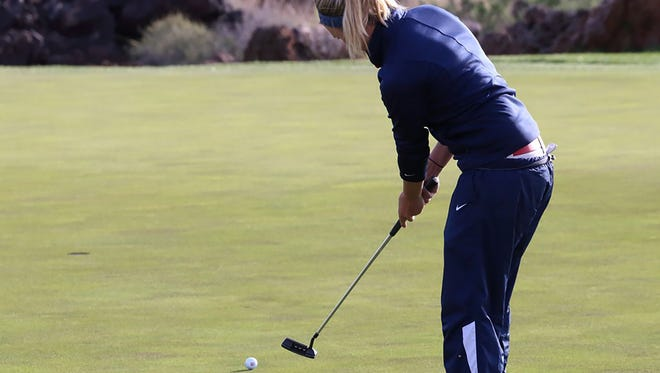 Dixie State's Shelby Madden putts the ball during BYU Entrada Classic Monday, March 14, 2016.