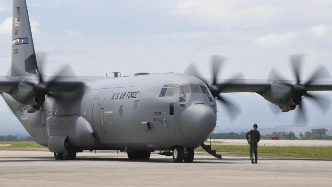 A C-130J Super Hercules from Dyess Air Force Base, Texas, goes through preflight checks at Soto Cano Air Base, Honduras, prior to deploying to Port-au-Prince, Haiti, to support the ongoing Hurricane Matthew disaster relief efforts. The C-130J was deployed to Soto Cano AB within hours of being requested to transport additional personnel and equipment necessary to sustain flight and maintenance operations in Haiti.