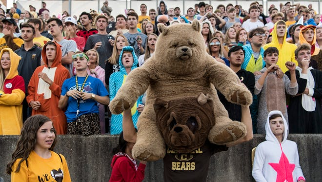The Bears student section is full before the start of the game against the Reitz Panthers at Central Stadium on Sept. 8, 2017. The Panthers defeated Central, 28-21.