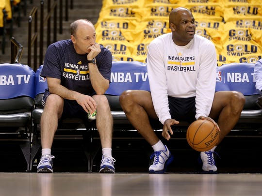 Indiana Pacers play the Washington Wizards in game 1 on the Eastern Conference Semifinals Monday, May 5, 2014, evening at Bankers Life Fieldhouse. Pacers associate head coach Nate McMillan,right, and assistant coach Dan Burke look on from the sideline before their game.