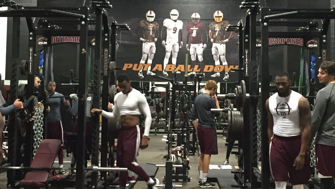 ULM's new weight room inside Malone Stadium includes new machines, weights and a nutrition center.