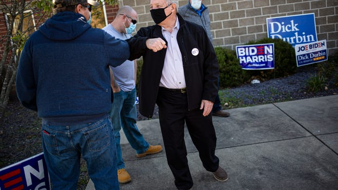 U.S. Sen. Dick Durbin, D-Ill., thanks supporters as he makes a stop at Operating Engineers Local 965 on Election Day, Tuesday, November 3, 2020, in Springfield, Ill.