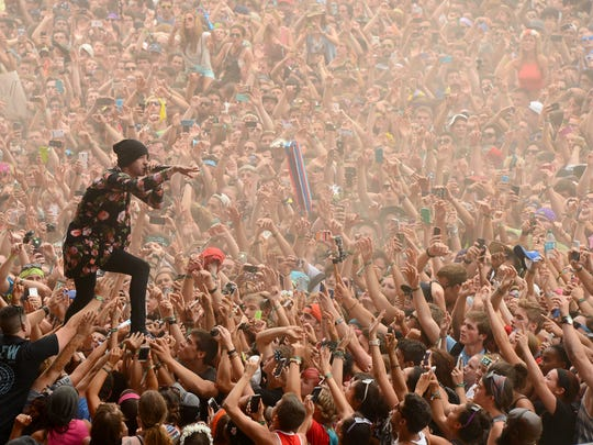 Tyler Joseph of Twenty One Pilots performs at  Firefly Music Festival in 2014.