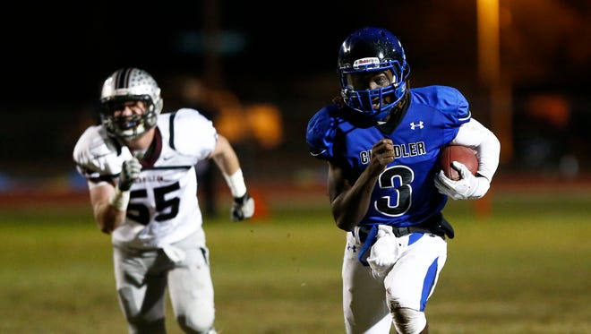 Chandler High's Bryce Perkins (right) leads his high-octane offense and has plenty of playmakers around him.