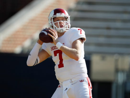 Indiana quarterback Nate Sudfeld warms up before an