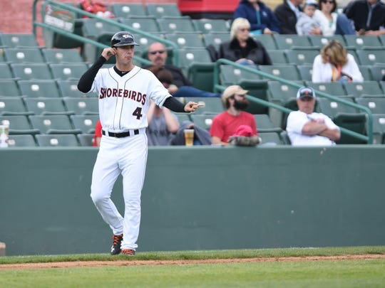 Kyle Moore played for the Shorebirds for parts of two seasons, but now works as the team's manager.