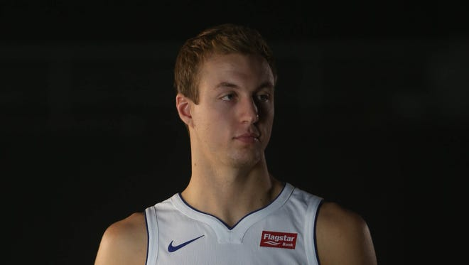 Pistons' Luke Kennard is photographed at media day Sept. 25, 2017 at the Palace in Auburn Hills.