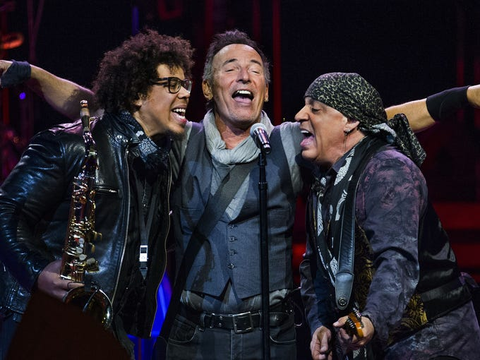 Bruce Springsteen belts it out with his bandmates Jake