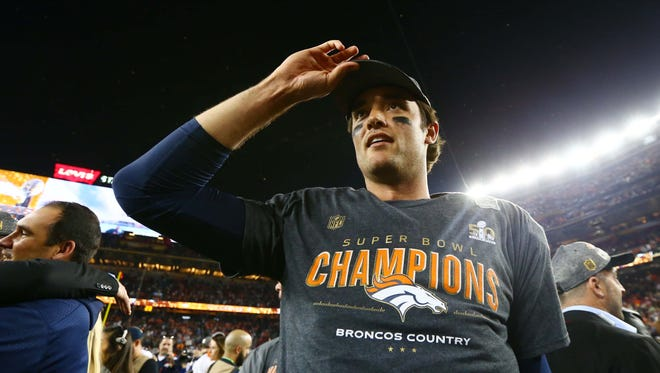 Denver Broncos quarterback Brock Osweiler on the field after defeating the Carolina Panthers in Super Bowl 50 at Levi's Stadium.