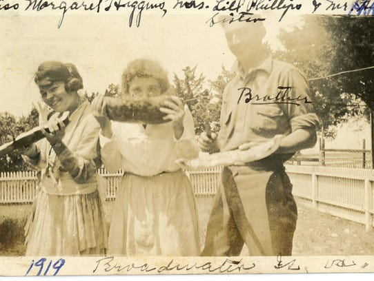 Hog Islanders display their harvest in a 1919 photography.