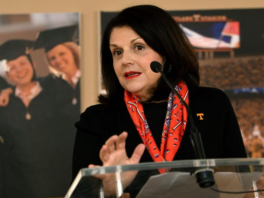 University of Tennessee Chancellor Beverly Davenport spent her first morning on the job Wednesday, Feb. 15, 2017, talking to students and media.