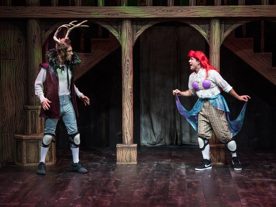"Riley Shanahan plays Riley (playing Oberon) and Luke Striffler plays Luke (playing Ariel) in the Utah Shakespeare Festival's 2017 production of ""William Shakespeare's Long Lost First Play (abridged)."""