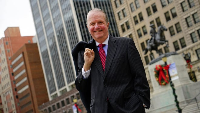 """Fred Sears, the retiring president and CEO of the Delaware Community Foundation, stands in Rodney Square in Wilmington on Monday. """"I like to be involved in the community because it still requires change,"""" he said."""