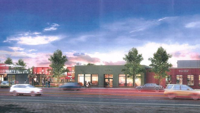 A rendering of The Exchange, a plan to transform the 200 block of North College Avenue.