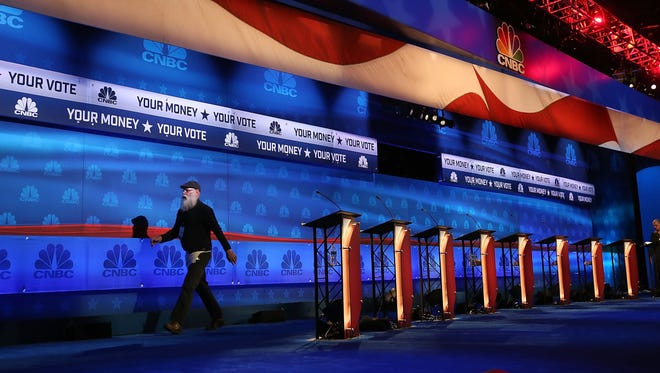 The stage is prepared for the CNBC Republican presidential debate at the University of Colorado on Oct. 27, 2015, in Boulder.