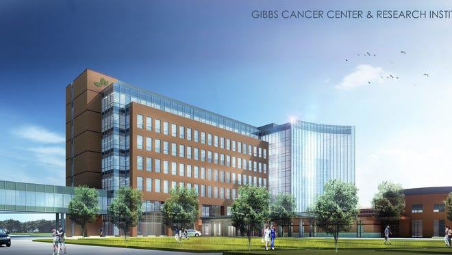 An artistic rendering shows what the new facility of Gibbs Cancer Center & Research Institute at Pelham will look like.