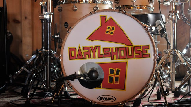 A drum set on the stage of Daryl's House, the restaurant and live music club located in Pawling and owned by Daryl Hall.