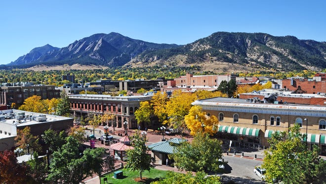 The downtown skyline in Boulder, Colorado.