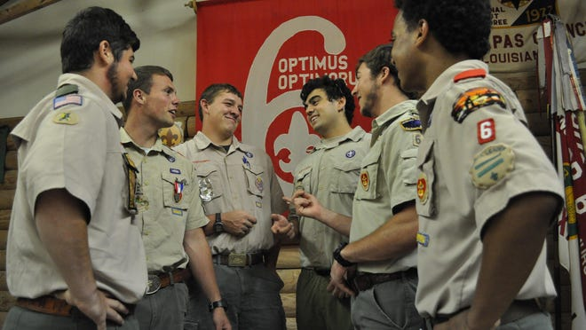(From left to right) Hunter Wellan, Michael Smilie, Wyatt Thiels, Thomas Davis, Grant Dobard and Lee Jones graduated from Holy Savior Menard High School last month with two other buddies, the second major milestone for the group to accomplish together. The eight also achieved the rank of Eagle Scout as members of Troop 6 in Alexandria.