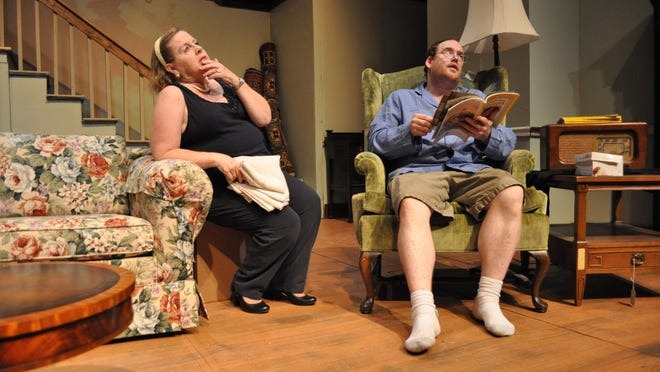 "Tina Smith (left) and Kendall From (right) rehearse the City Park Players' production of ""Clybourne Park."""