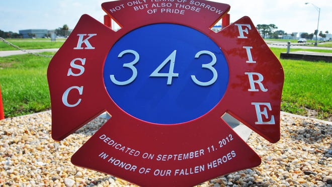 KSC firefighters had a Maltese cross made for the site of the World Trade Center beam.