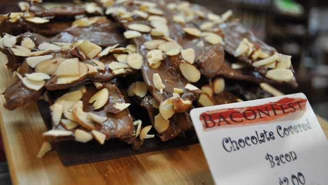 Chocolate covered bacon, available during BaconFest at Atwood's Bakery.