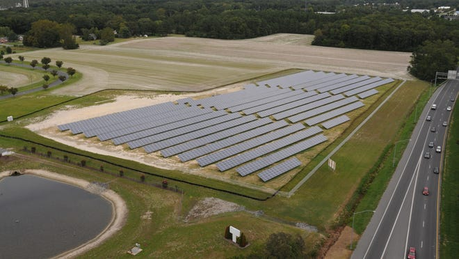 Perdue Farms Inc.'s solar array, located behind its corporate headquarters and visible from Route 50 east of Salisbury, hints at what's to come in Worcester County,