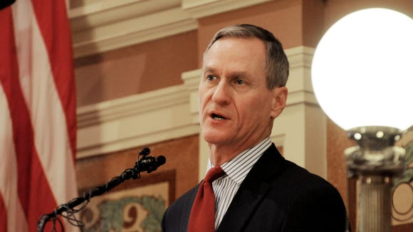 South Dakota Gov. Dennis Daugaard speaking at the State of the State address on Tuesday, Jan. 13, 2015 in Pierre.
