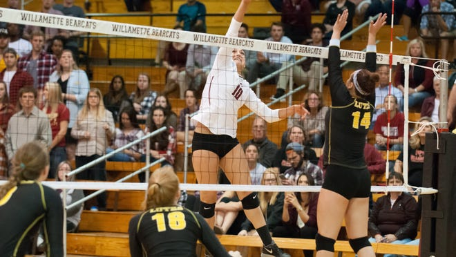 Volleyball: Willamette University defeated Pacific Lutheran University in five sets (21-25, 15-25, 25-19, 25-17, 16-14) in Cone Field House, Salem, Oregon