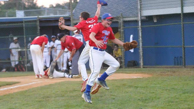 Randolph West's Paul and Eric Recchia celebrate their 4-3 victory over Rutherford in Game 3 of the Joe Graziano Little League State Tournament in Gloucester City on Friday.