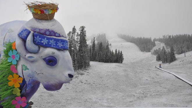 Snow fell at higher elevations Sunday and Monday including Showdown Ski Area.