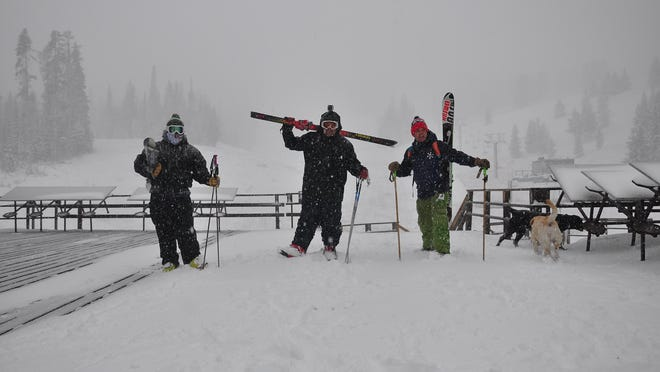 Ben Zehntner, Kenneth Webb and Curtis Grevenitz showed up to ski Tuesday morning at Showdown. Webb and Grevenitz are meteorologists. The ski area in the Little Belt Moutains isn't officially open but it's snowing.