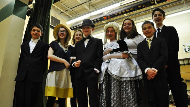 The Robert R. Lazar Middle School spring musical, Singin' in the Rain, Jr., will be performed this week at the Montville Township High School Dr. Robert O. Stafford Auditorium. Pictured are some of the characters from the production: (Front, left to right) Jack Iaci, Nina Lewin, Andrew Gunneson, Adyna Silverberg, Dominic LaScala, (Back left to right) Anamaria Popovska Emma Zwickel and Derek Pasquale.