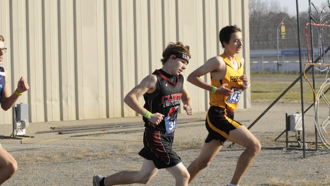 Clinton's Gabe Nelson runs during the Division 3 cross country state championship meet at Michigan International Speedway on Saturday.