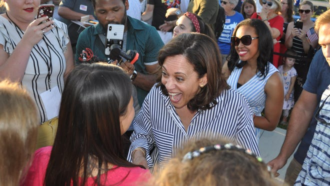 Kamala Harris greets a well-wisher after a speech in Council Bluffs, Iowa, on July 3, 2019.