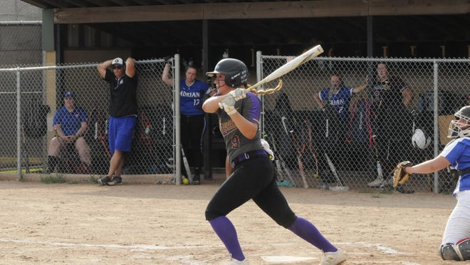 Blissfield's Courtney Mason hits a 2-run double during the 2020 Lenawee County Senior All-Star Softball Game Wednesday at Adrian College.