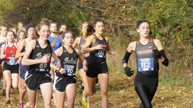 Tecumseh's Kaitlin Knape (112) and Chesney Wilke (116) lead the pack at the start of Saturday morning's Division 2 pre-regional race at Heritage Park in Adrian.