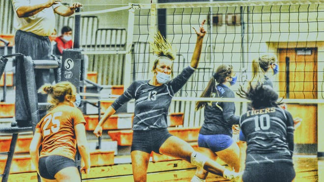 Hudson's Callie Bauer celebrates a point with her teammates during a match in the 2020 season.