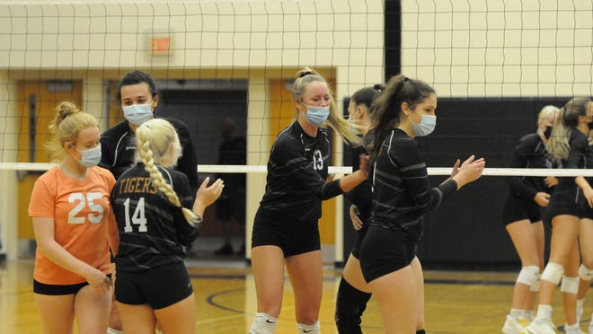 Hudson's Callie Bauer (13) celebrates with her teammates after a point during Tuesday's match against Onsted.